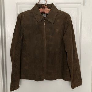 Chico's Suede Leather Jacket Brown